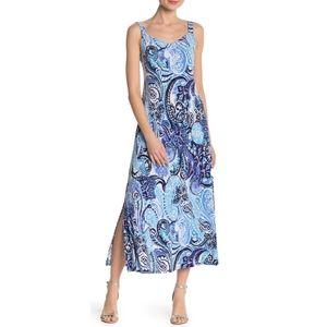 MSK Nordstrom V Neck Patterned Maxi Dress Large